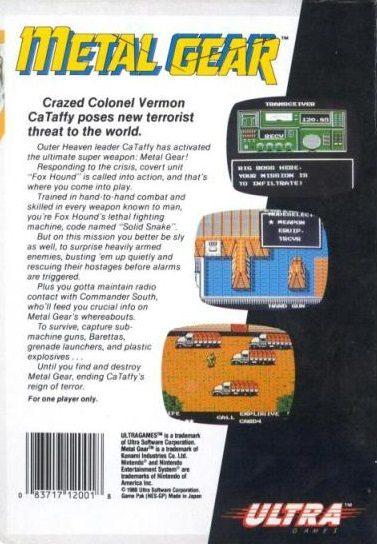 Tył pudełka Metal Gear w wersji amerykańskiej