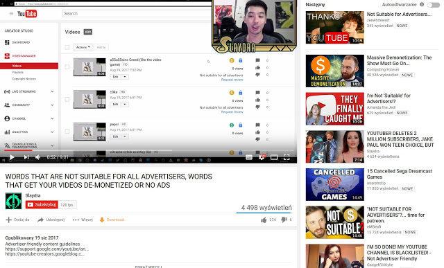 Youtube zbanowane słowa