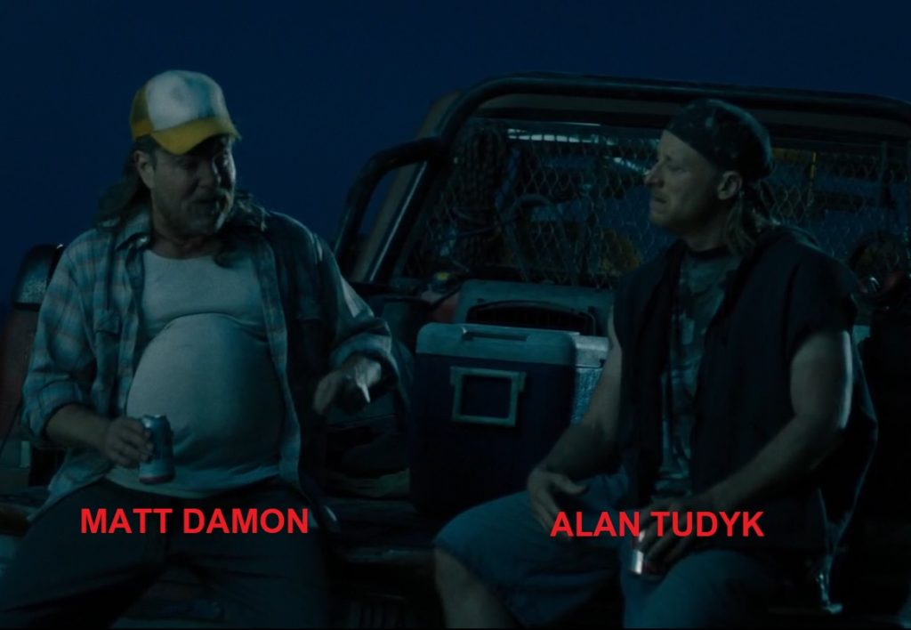 Matt Damon i Alan Tudyk w filmie Deadpool