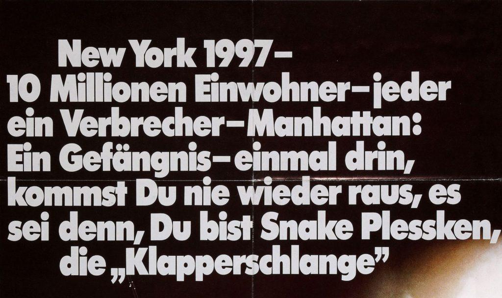Niemiecki plakat ucieczka z nowego jorku